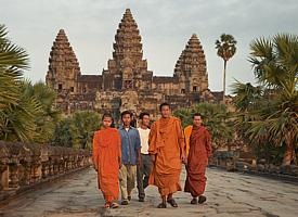 Buddhist priests in front of the huge temple complex