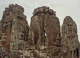 "The ""Bayon"" is composed of giant stone heads"