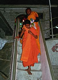 "Buddhist monks at the temple of ""Sri Pada"""